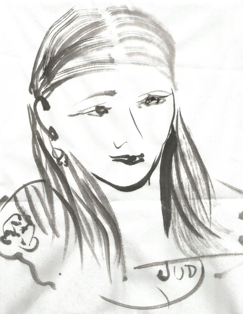 Japanese Brush Self Portrait